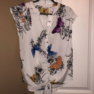 NWT Size Small Butterfly NewYorking Comp Blouse
